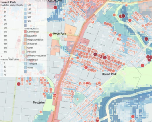 Flood extents and depths Townsville 2019
